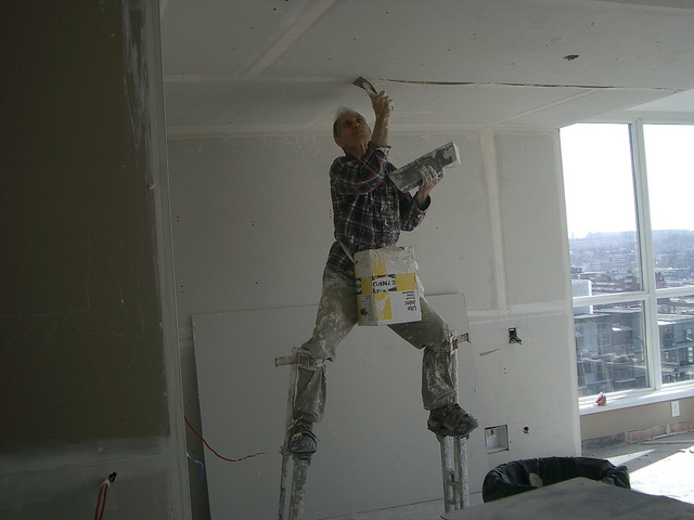 A Peach Interior Design Contractor hard at work on an Vancouver home renovation.