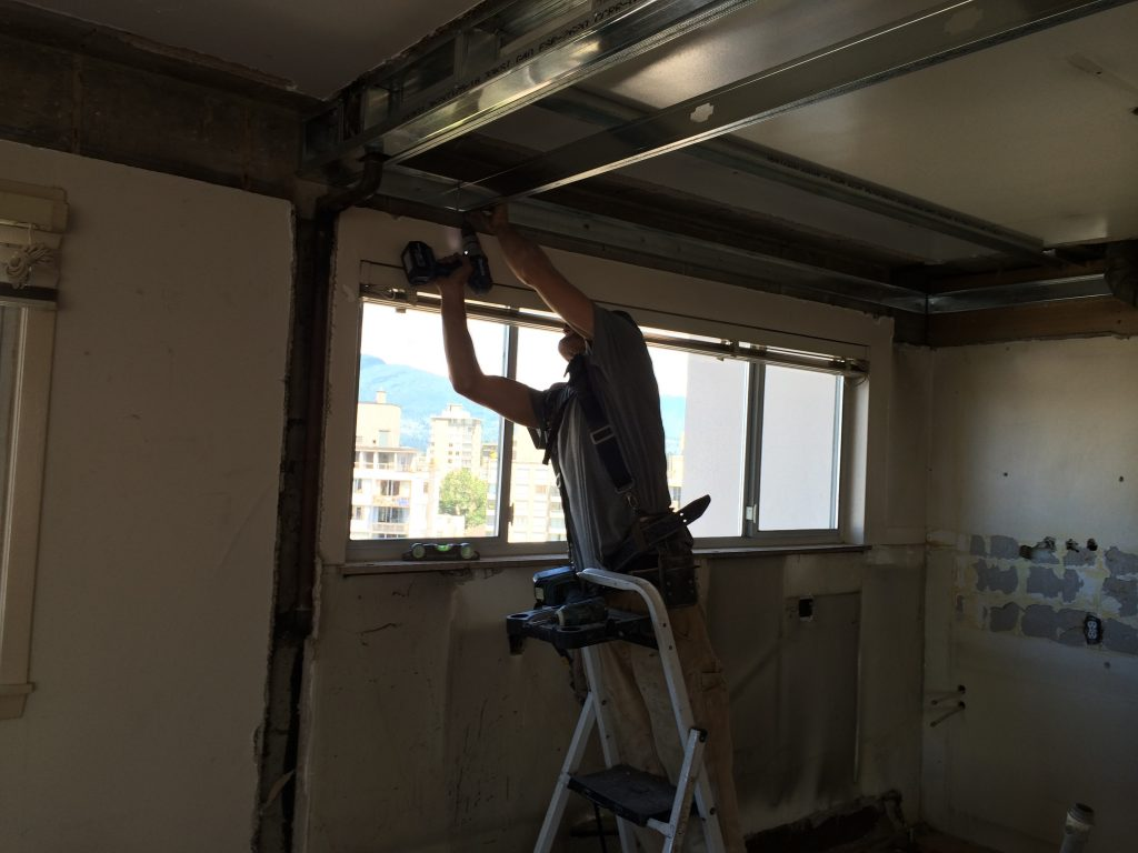 Luke framing the dropped ceiling